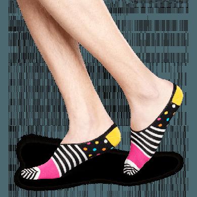 Nízké vykrojené černobílé ponožky Happy Socks s barevným vzorem Stripe Dot