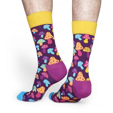 Fialové ponožky Happy Socks s barevnými houbičkami, vzor Shroom