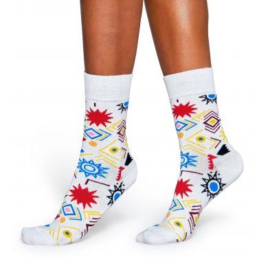 Bílé ponožky Happy Socks s barevnými symboly, vzor Signs