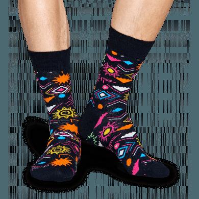 Černé ponožky Happy Socks s barevnými symboly, vzor Signs