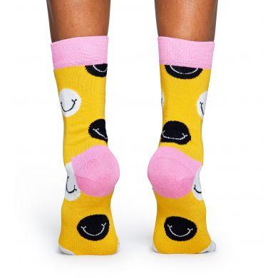 Žluté ponožky Happy Socks se smajlíky, barevný vzor Smile