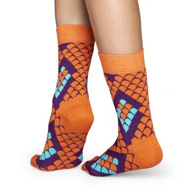 Oranžové ponožky Happy Socks s hadím vzorem Snake