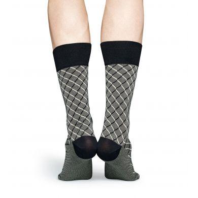 Šedé ponožky Happy Socks, vzor Square // kolekce Dressed