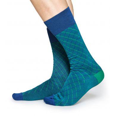 Zeleno-modré ponožky Happy Socks, vzor Square Optic // kolekce Dressed
