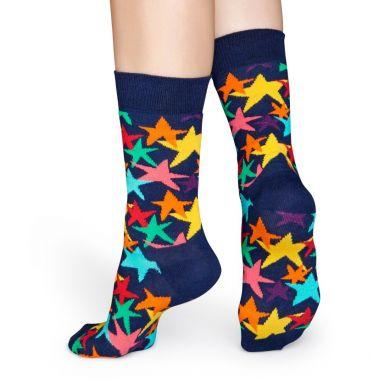 Modré ponožky Happy Socks s barevnými hvězdami, vzor Stars