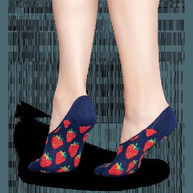 Nízké vykrojené modré ponožky Happy Socks s červenými jahodami, vzor Strawberry