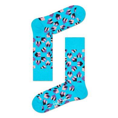 Tyrkysové ponožky Happy Socks s barevným vzorem Steps