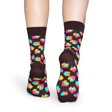 Černé ponožky Happy Socks s barevným vzorem Steps