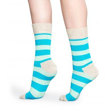 Modro-tyrkysové pruhované ponožky Happy Socks, vzor Stripe