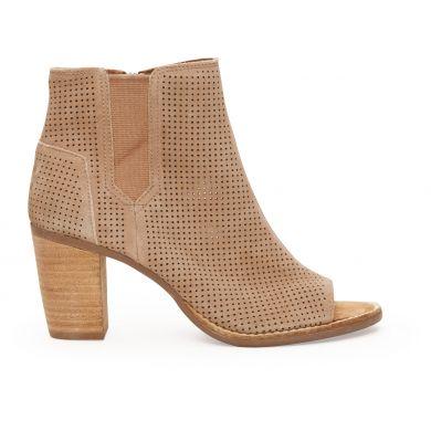 Béžové dámské semišové boty na podpatku TOMS