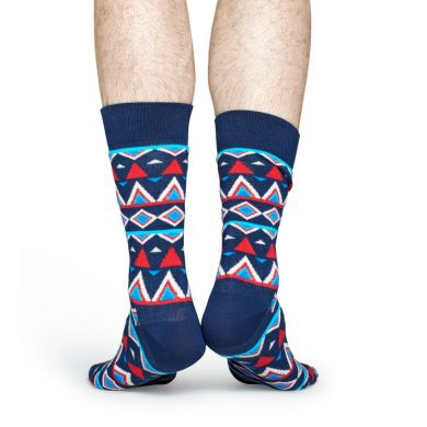 Modré ponožky Happy Socks s barevným vzorem Temple