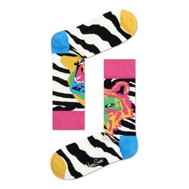 Černobílé ponožky Happy Socks s barevným vzorem Tiger/Gorilla
