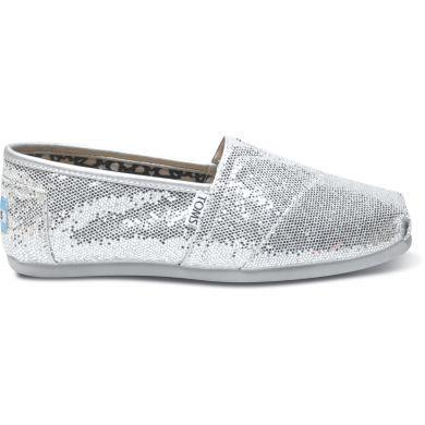 Stříbrné dámské TOMS Glitter Alpargatas