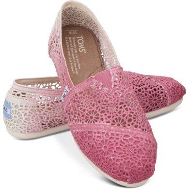 Růžové dámské TOMS Dip-dyed Crochet Alpargata