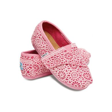 Dětské růžové TOMS Crochet Tiny Alpargata