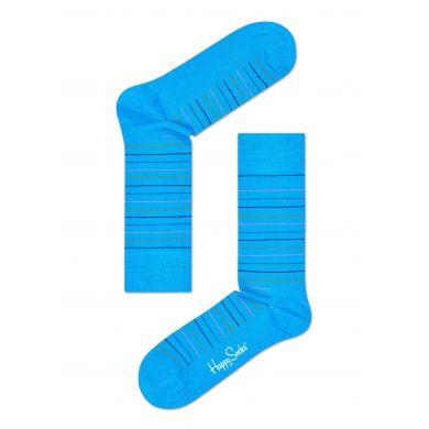Modré ponožky Happy Socks s barevnými proužky, vzor Thin Stripe