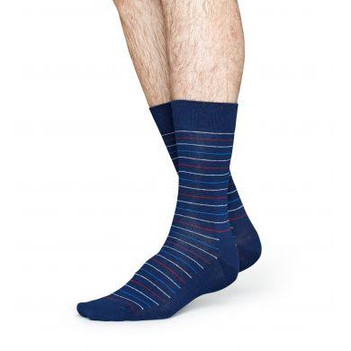 Modré ponožky Happy Socks s proužky, vzor Thin Stripe