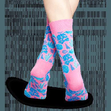 Růžové ponožky Happy Socks s modrým vzorem Under The Sea