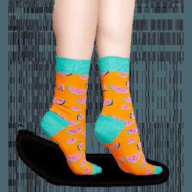Oranžové ponožky Happy Socks s barevnými melouny, vzor Watermelon