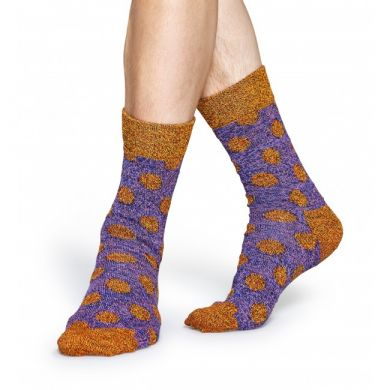Fialové vlněné ponožky Happy Socks s oranžovými puntíky, vzor Big Dot