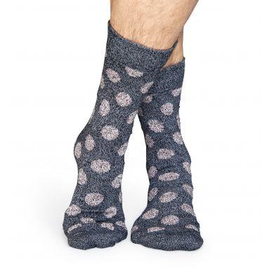 Šedé vlněné ponožky Happy Socks s šedými puntíky, vzor Big Dot