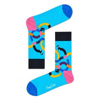 Tyrkysové ponožky Happy Socks s barevnými jezevčíky, vzor Wiener Dog