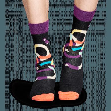 Černé ponožky Happy Socks s barevnými jezevčíky, vzor Wiener Dog