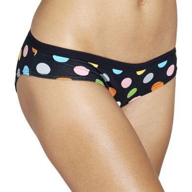 Černé kalhotky Happy Socks s barevnými puntíky, vzor Big Dot