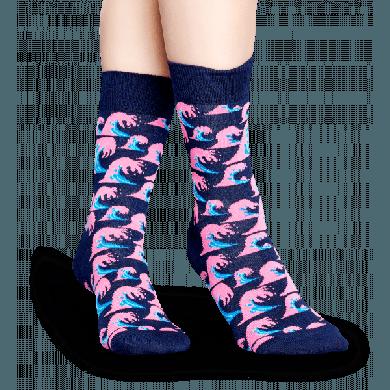 Modré ponožky Happy Socks s barevnými vlnami, vzor Wave