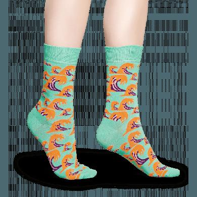 Zelené ponožky Happy Socks s barevnými vlnami, vzor Wave