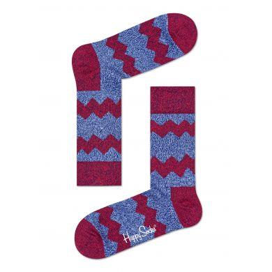 Modré vlněné ponožky Happy Socks s červenými zubatými pruhy, vzor Zig Zag Stripes