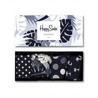 Dárková krabička Happy Socks - Black and white, čtyři páry