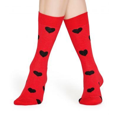 Červené ponožky Happy Socks s černými srdíčky