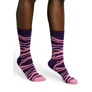 Fialové ponožky Happy Socks se vzorem Zebra
