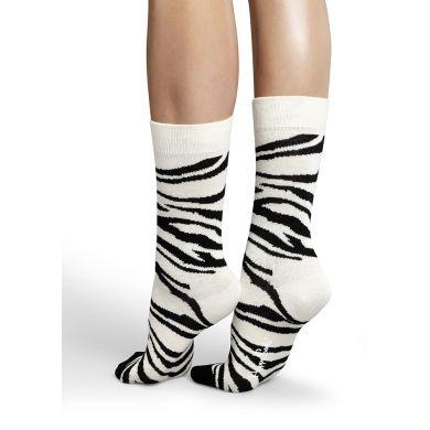 Černobílé ponožky Happy Socks se vzorem Zebra