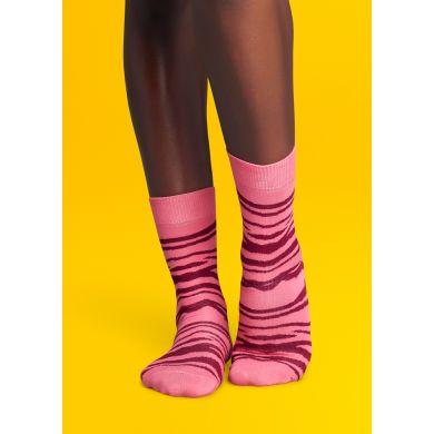 Růžové ponožky Happy Socks se vzorem Zebra