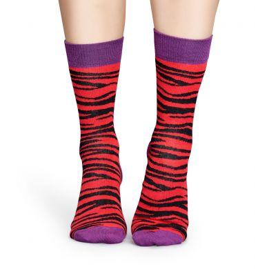 Červené ponožky Happy Socks se vzorem Zebra