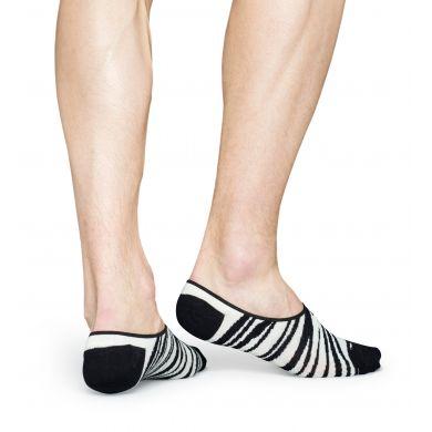 Černobílé nízké vykrojené ponožky Happy Socks se vzorem Zebra