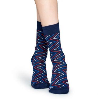Modré ponožky Happy Socks s barevným zubatým vzorem Ziggy