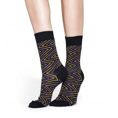 Černé ponožky s barevným zubatým vzorem Ziggy