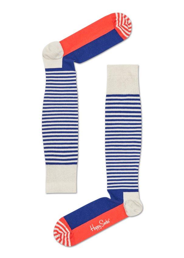 Barevné pruhované kompresní podkolenky Happy Socks, vzor Half Stripe - 36-38
