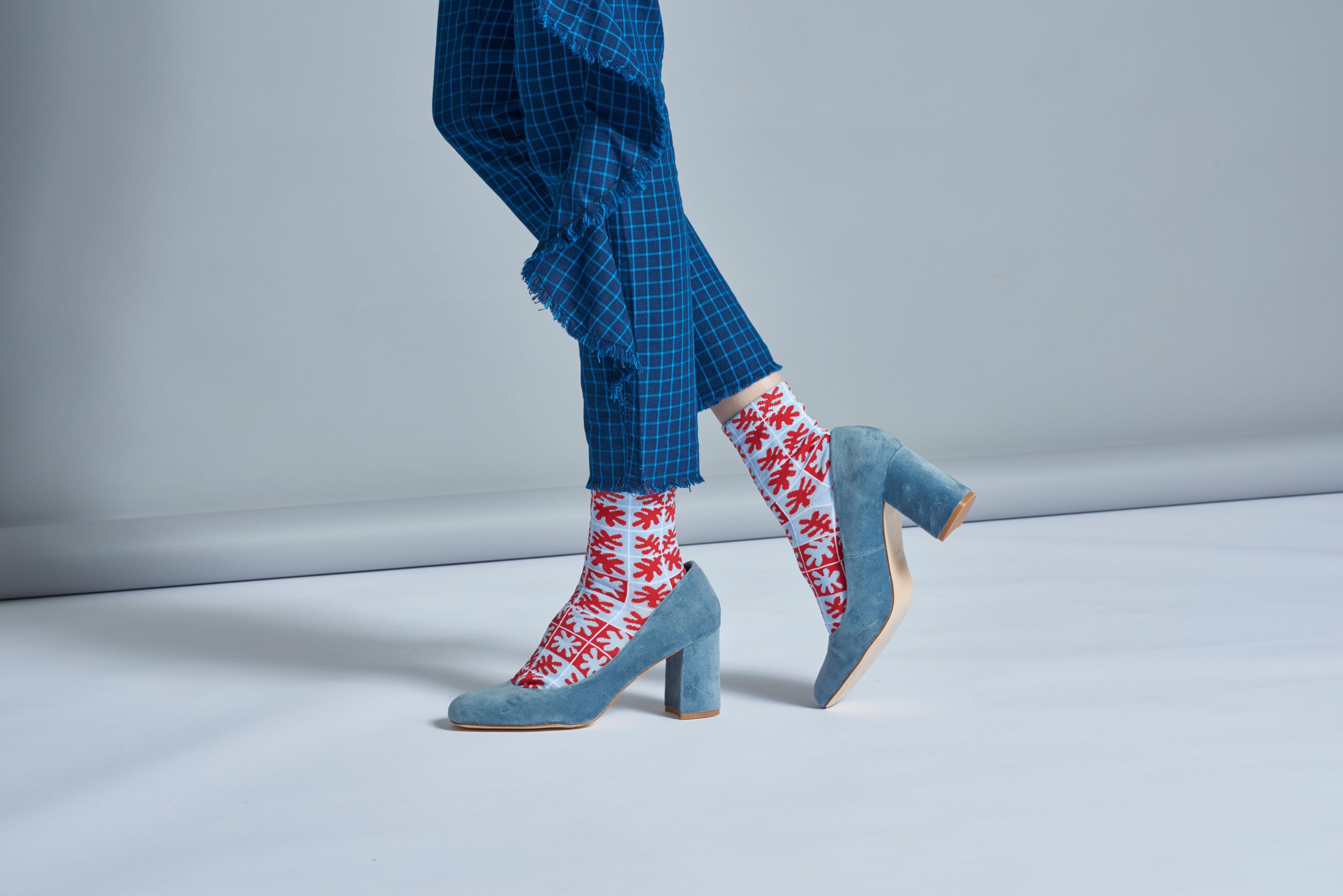Dámské červené teplé ponožky Happy Socks Emilia // kolekce Hysteria
