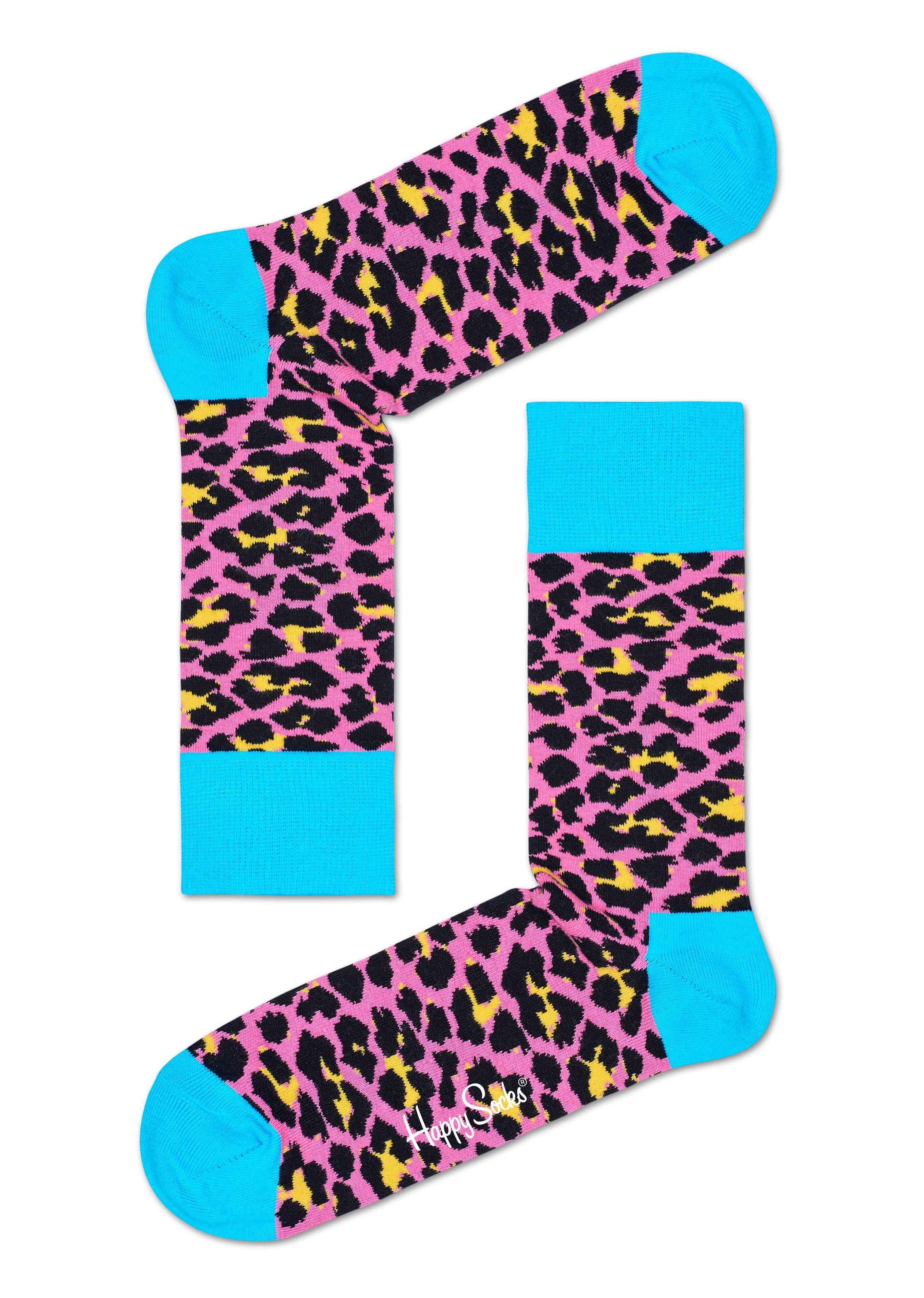 Fotografie Růžové ponožky Happy Socks s barevným vzorem Leopard-S-M (36-40)