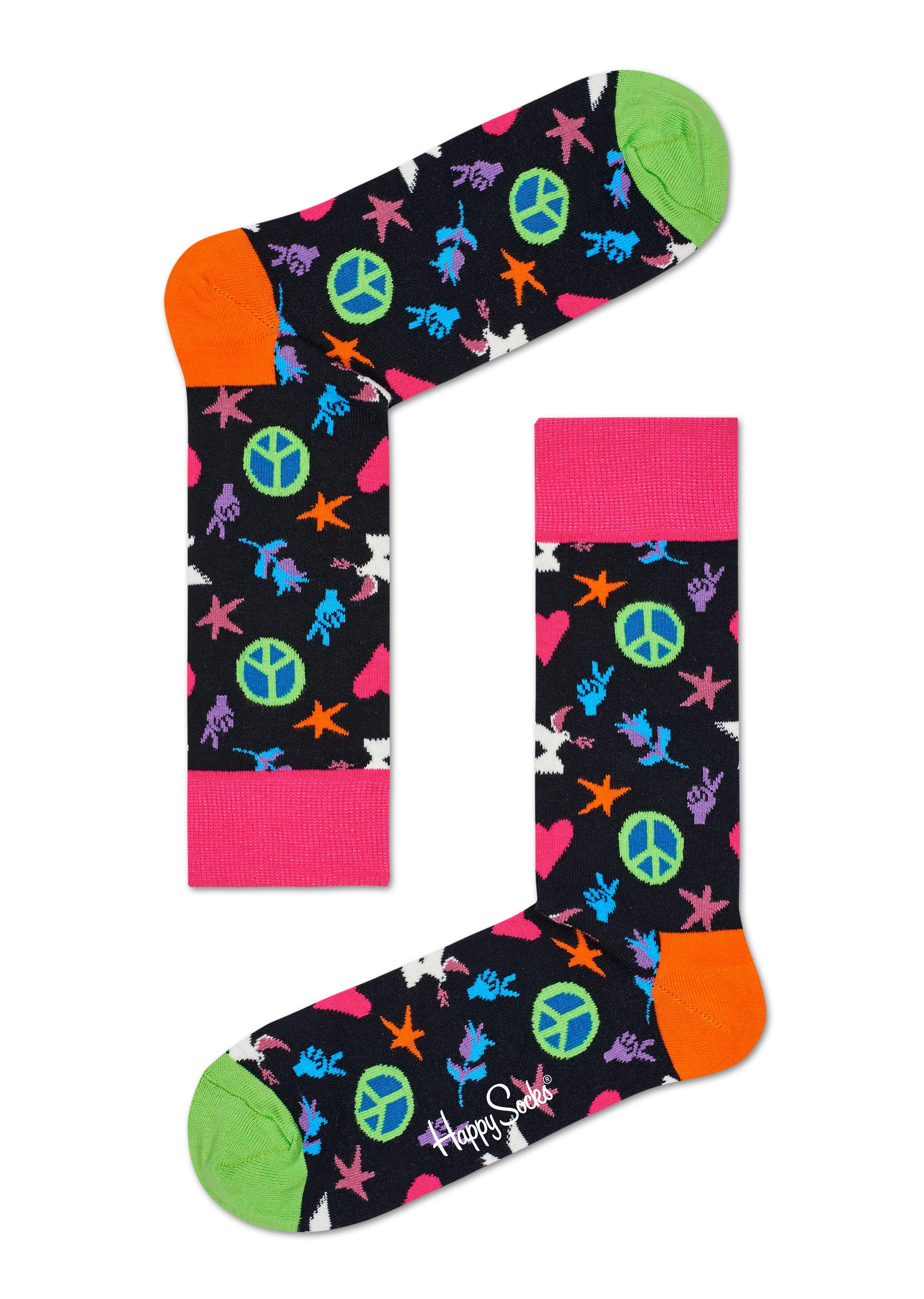 Fotografie Černé ponožky Happy Socks s barevným vozrem Peace and Love - S-M (36-40)