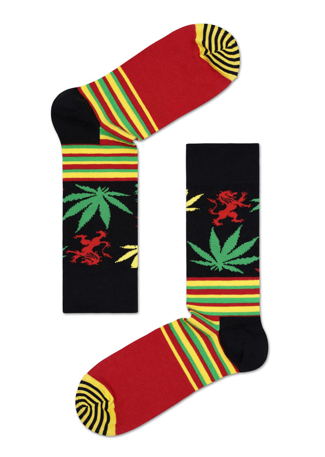 Ponožky Happy Socks Snoop Dogg Stripes & Plants - S-M (36-40)