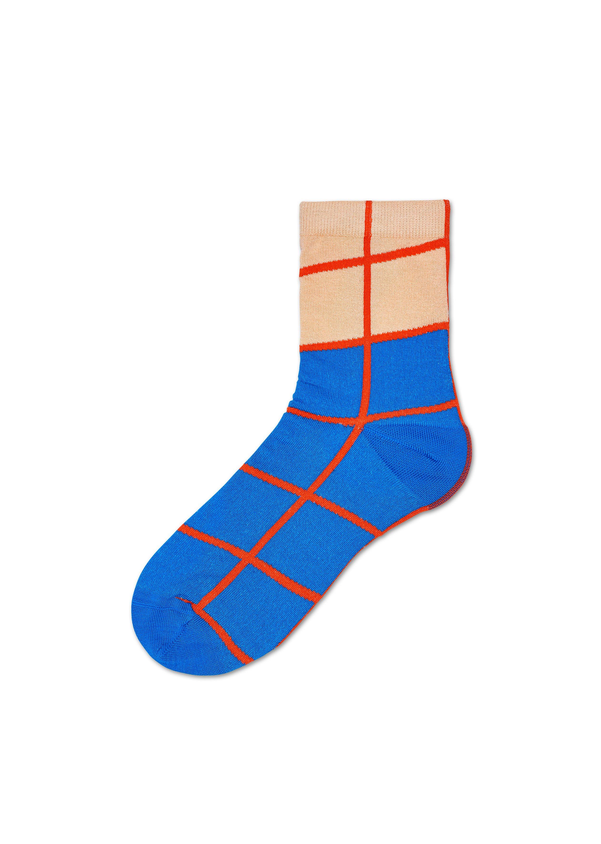 Dámské modro-oranžové ponožky Happy Socks Karen // kolekce Hysteria