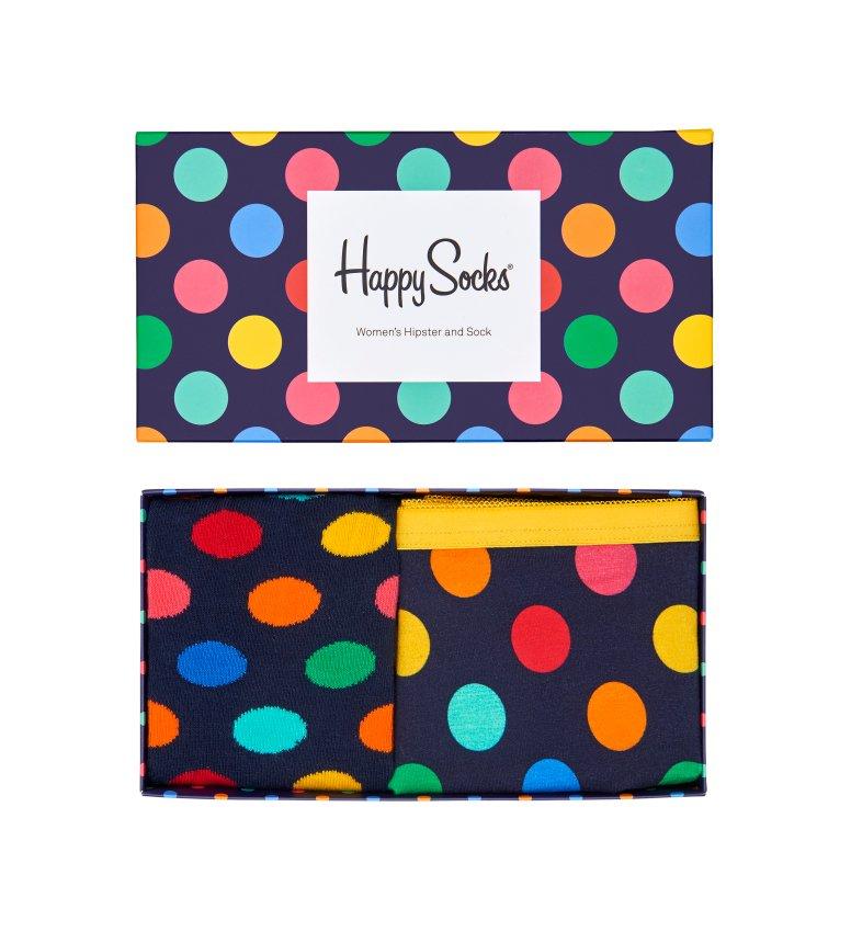 Dárková krabička Happy Socks Combo box Big Dot Blue, dámská - L