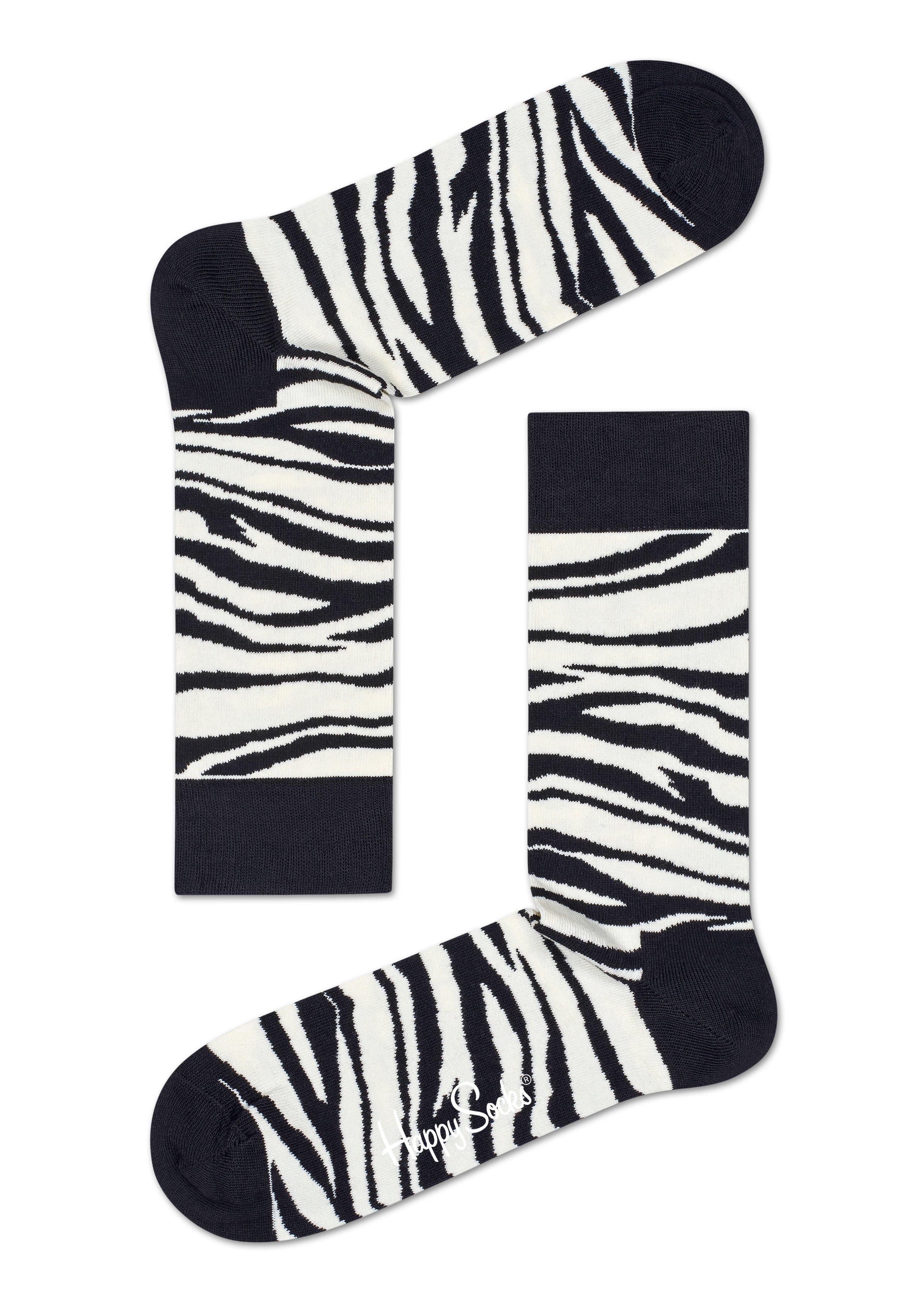 Černobílé ponožky Happy Socks se vzorem Zebra - S-M (36-40)