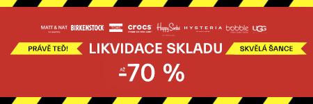 Likvidace skladu - Výprodej až 70 %
